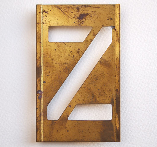 Early-1900s vintage brass plate letter stencil: 'Z', 11cm