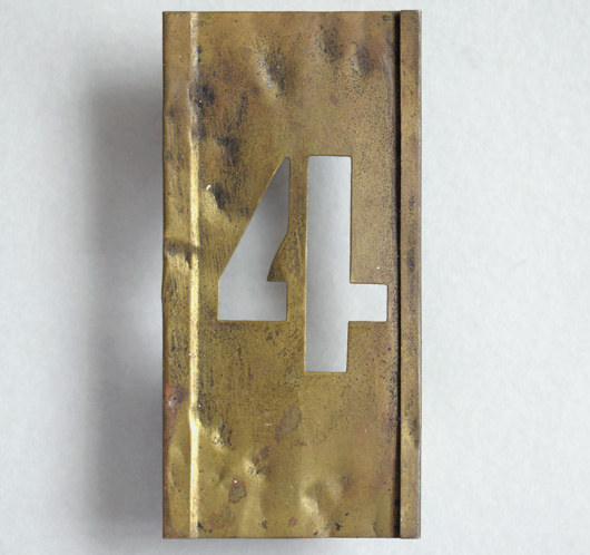 Early-1900s vintage brass number stencil: '4', 6cm