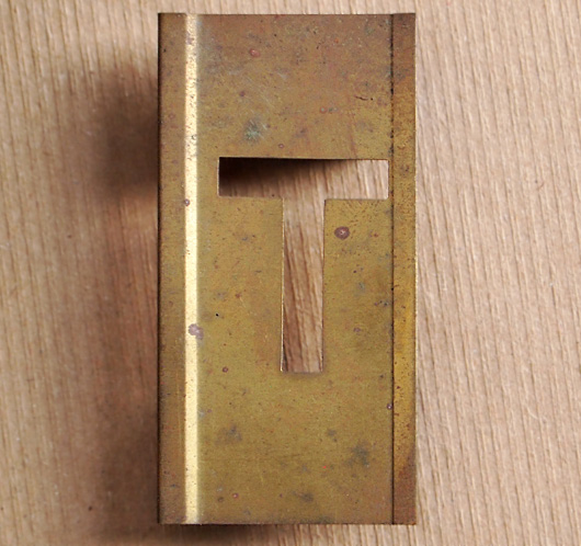 Vintage French brass-plate letter stencil 'T', 6cm