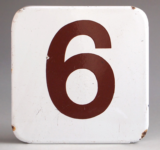 Ex-Heygate council estate vintage enamel lift sign number '6'