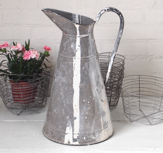 Tall vintage zinc water jug with paint streaks, early 1900s