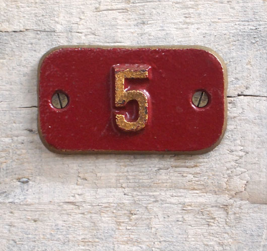 Rare antique cast-iron plate railway car sign number '5'
