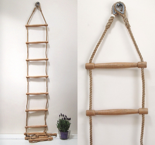 Mid-1900s vintage gymnasium rope ladder with wooden rungs