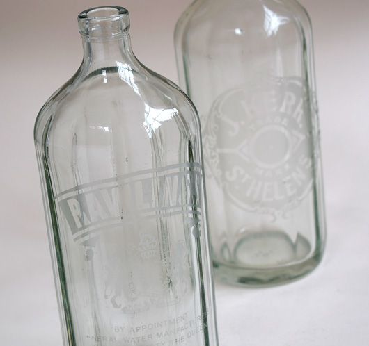 Faceted vintage soda syphon bottles with etched design, mid-1900s