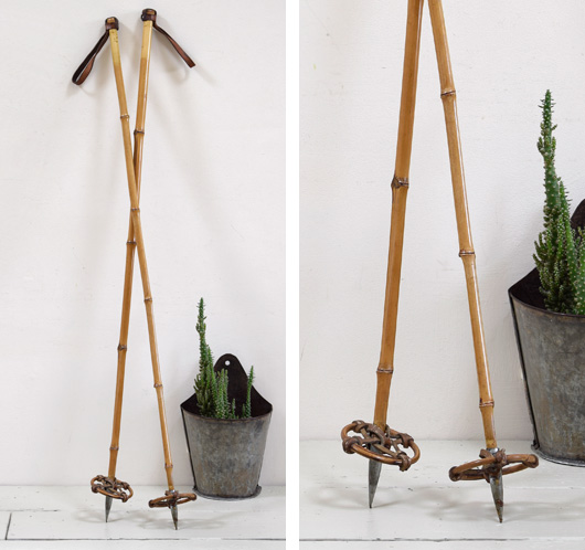 Early-1900s antique bamboo and leather ski poles