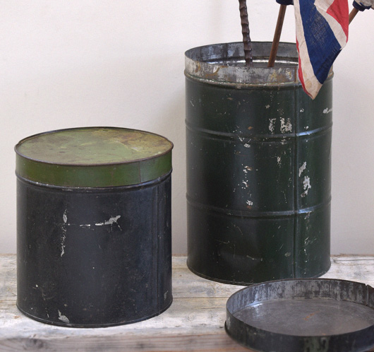 Pair of large vintage green storage tins, early 1900s