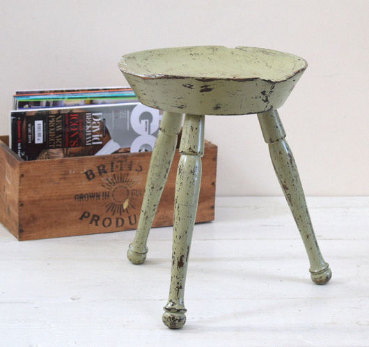 Early-1900s antique painted oak farmhouse stool