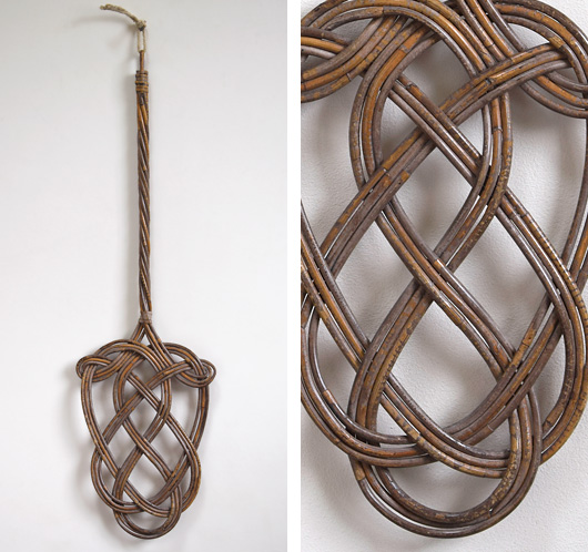 Large early-1900s vintage rattan carpet beater