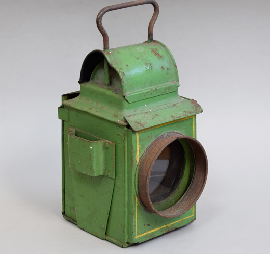 1940s vintage metal railway lantern, British Railways (Midland)