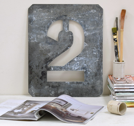 Large vintage zinc number stencil '2', early 1900s