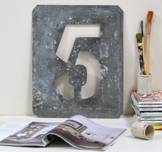 Large vintage zinc number stencil '5', early 1900s