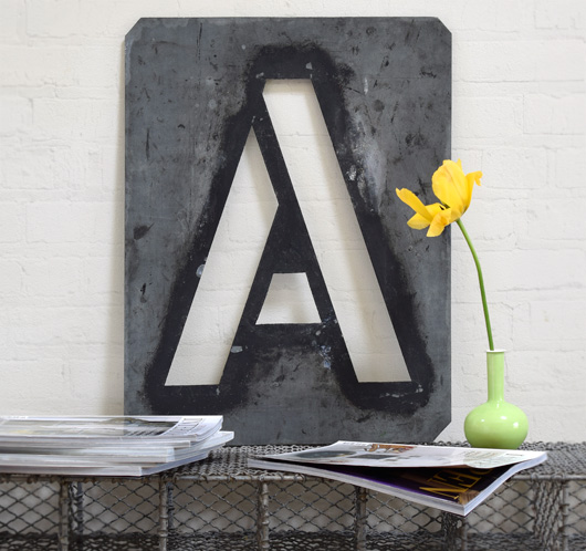 Large antique signwriter's zinc letter stencil 'A'