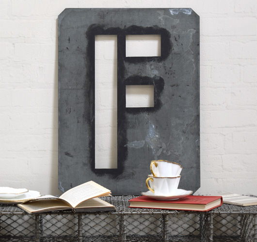 Large antique signwriter's zinc letter stencil 'F'