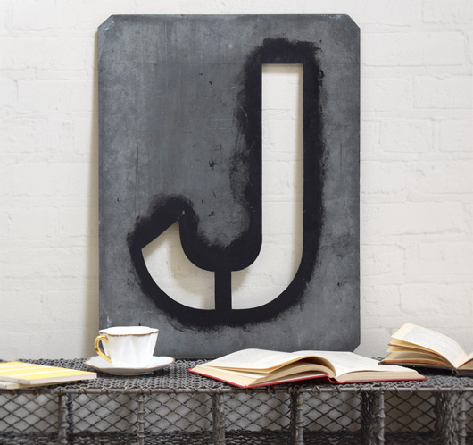 Large antique signwriter's zinc letter stencil 'J'