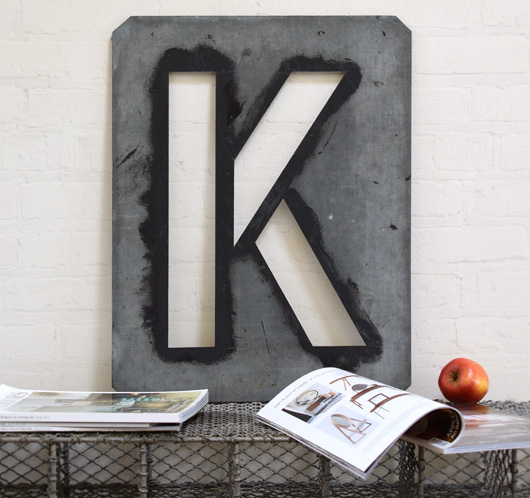 Large antique signwriter's zinc letter stencil 'K'