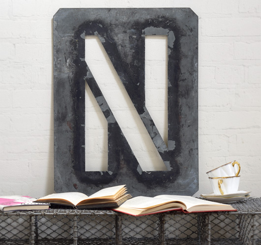 Large antique signwriter's zinc letter stencil 'N'