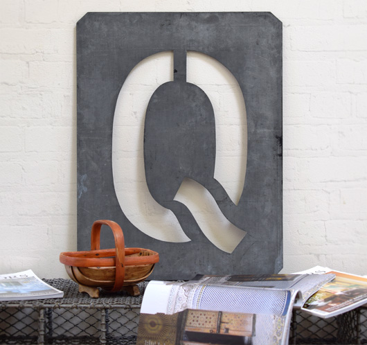 Large antique signwriter's zinc letter stencil 'Q'