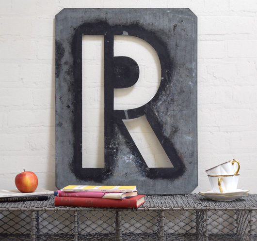 Large antique signwriter's zinc letter stencil 'R'