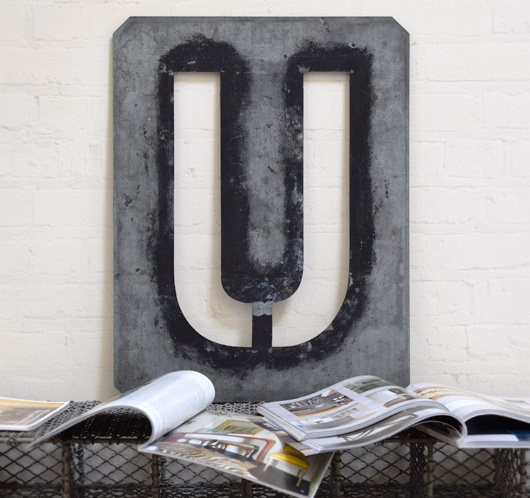 Large antique signwriter's zinc letter stencil 'U'