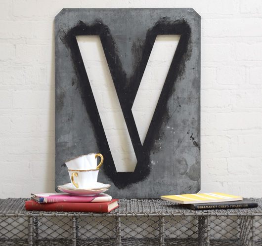 Large antique signwriter's zinc letter stencil 'V'