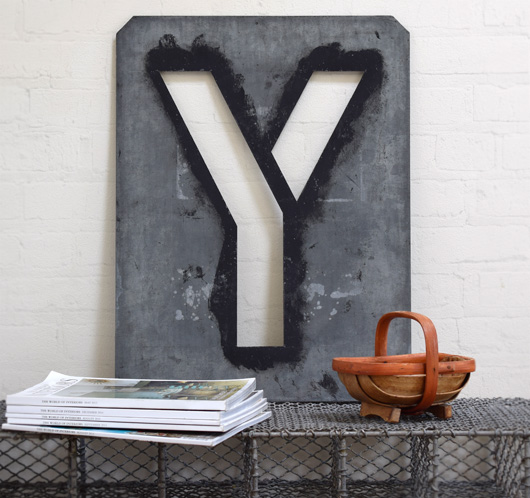 Large antique signwriter's zinc letter stencil 'Y'
