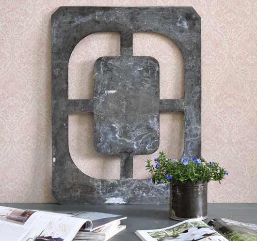 Extra-large vintage signwriter's zinc letter stencil 'O', c. 1900
