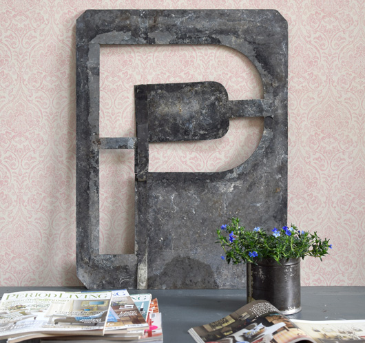 Extra-large vintage signwriter's zinc letter stencil 'P', c. 1900