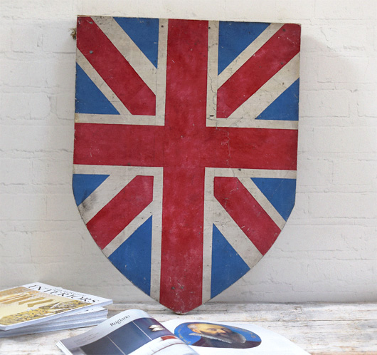 Victorian painted wooden shield: Union Jack
