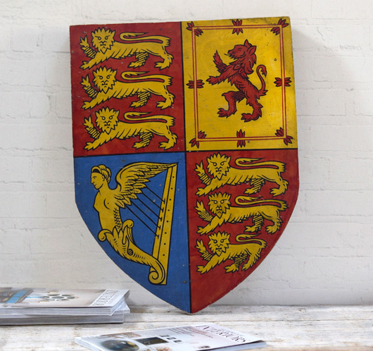 Victorian decorative wooden shield: Royal Standard