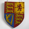 Victorian painted wooden shield: Royal Standard