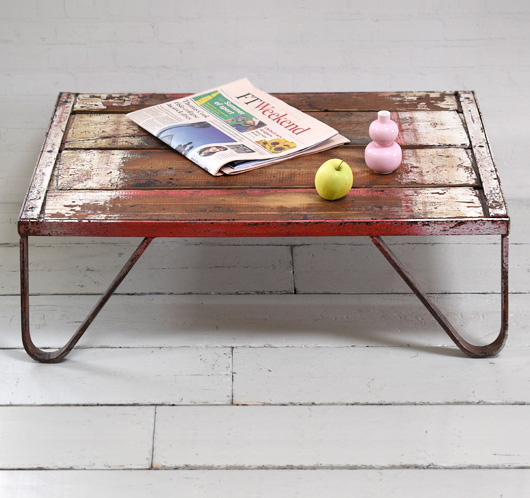 Antique iron and wood textile mill coffee table