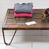 Iron and wood textile mill coffee table