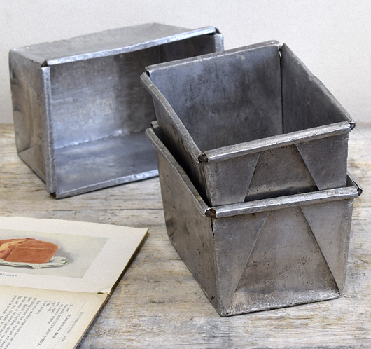 Vintage polished aluminium loaf tin, early 1900s