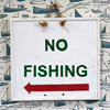 Painted wooden pond sign: No Fishing