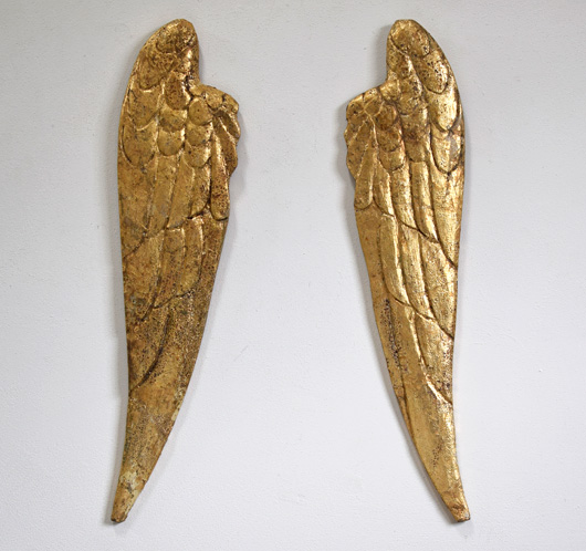 Pair of early-1900s antique gilded angel wings