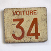 French iron railway carriage number sign