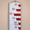 Red and white enamel water level sign