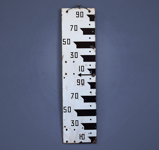 Vintage black and white enamel water level sign