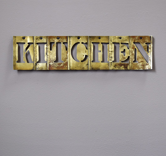 Antique mounted brass sign stencil: Kitchen