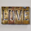 Antique mounted brass sign stencil: Love