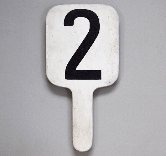Painted vintage wooden number paddle: '2'