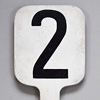 Painted wooden number paddle: '2'