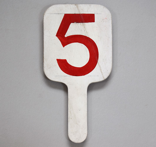 Painted vintage wooden number paddle: '5'
