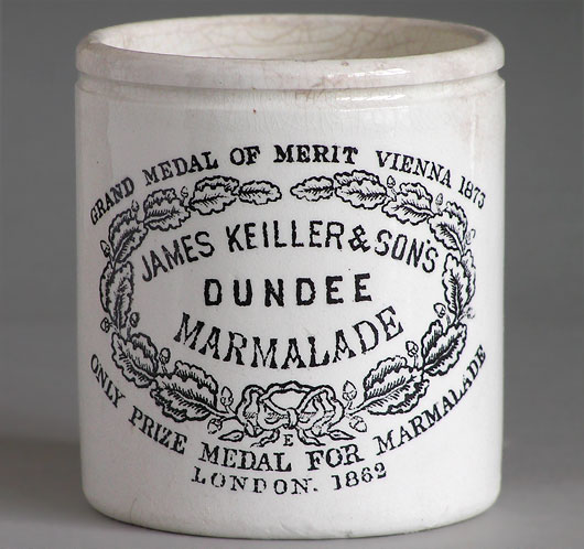 Victorian Keiller & Son marmalade preserve pot with scented candle