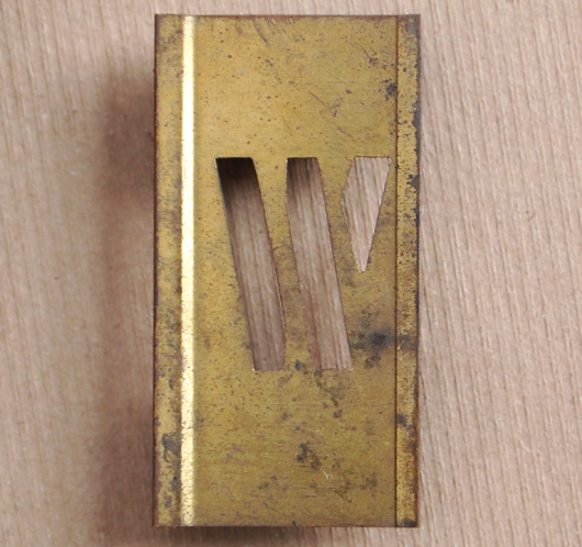 Vintage French brass-plate letter stencil 'W', 6cm