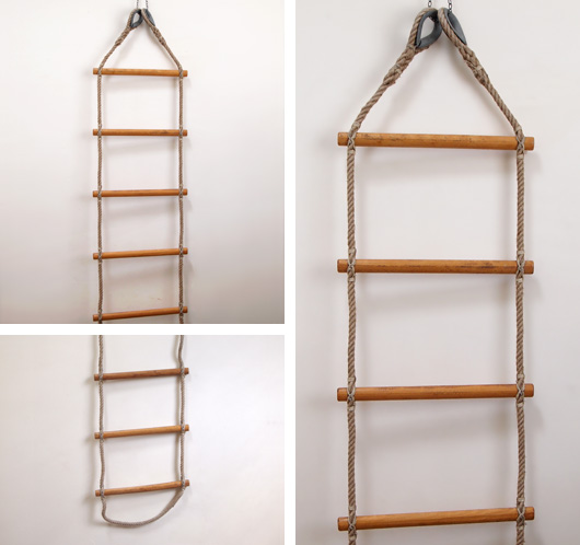Extra-large vintage ship's rope ladder, 16-ft (4.9m)