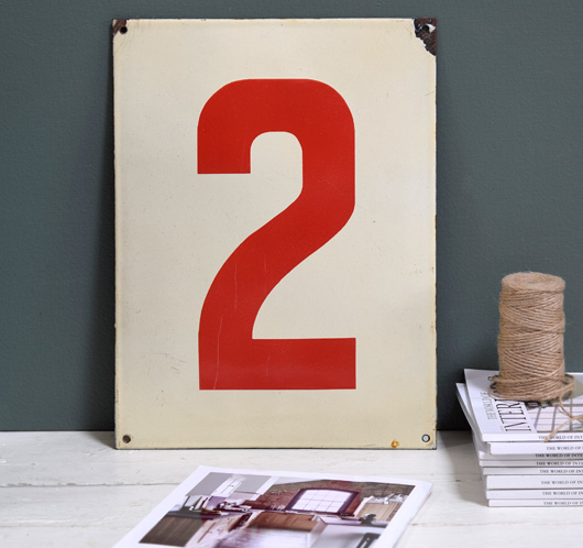 Large red and cream enamel number sign: '2', mid-1900s