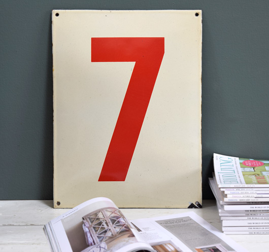 Large red and cream vintage enamel number sign: '7', mid-1900s