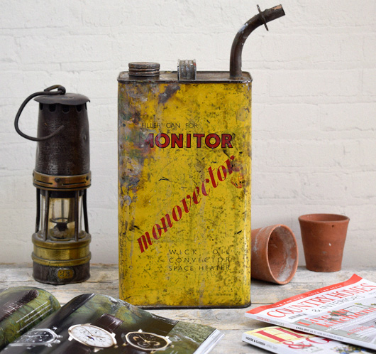 Mid-1900s vintage yellow paraffin oil can: Monitor