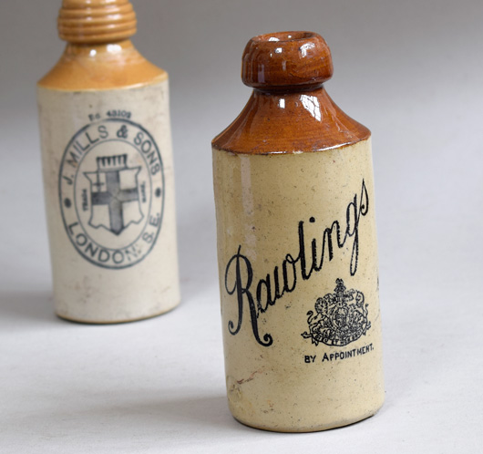 Victorian stoneware ginger beer bottle: Rawlings, London